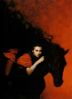 Not sure if I've pinned this before, but I absolutely adore this painting. (of a gypsy girl on a black horse.)