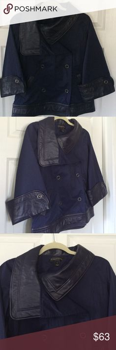 ⚡️SALE⚡️Bagatelle Leather Trimmed Jacket Beautiful lightweight jacket by bagatelle!  The body of this jacket is a navy nylon material and the wide cuffs, asymmetric collar, and bottom band are dark navy genuine leather. In great pre-loved condition. A perfect statement piece to wear this fall! Bagatelle Jackets & Coats