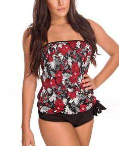 47868be37332a Daisy's Swimwear Red & Black Hibiscus Strapless Tankini - Women by Daisy's  Swimwear.