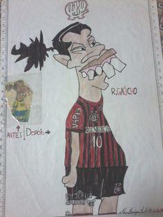 Desenho meu que achei, datado de 2006, reprodução do jogador Ronaldinho Gaúcho em época que jogava muito, com o uniforme do Furacão Clube Atlético Paranaense. CAP Ronaldo Atleticano Hahahah