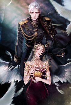 Illustration for romance novel 'Double agent' published in Korea. Beautiful Fantasy Art, Dark Fantasy Art, Fantasy Artwork, Fantasy Love, Anime Love Couple, Couple Art, Anime Couples Manga, Cute Anime Couples, Anime Art Girl