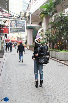 striped #hat x leather #jacket x boyfriend #jeans