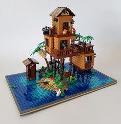 Loner's Paradise MOC. A tropical hide-away. Loner's Paradise MOC. A tropical hide-away. Lego Minecraft, Lego Moc, Lego Lego, Minecraft Buildings, Lego Ninjago, Lego City, Lego Design, Lego Technic, Lego Friends
