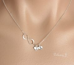 Infinity necklace, Infinity heart necklace, Initial necklace, Personalized couple necklace, friendship mother and child, Heart and infinity