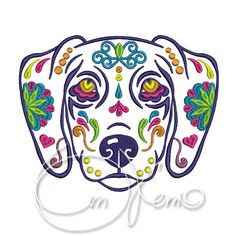 MACHINE EMBROIDERY DESIGN - Calavera Begal dog, Dia de los muertos, Mexican design, Halloween design, calavera dog, Day of the dead    *******YOU MUST