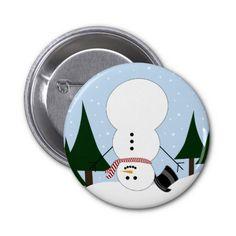 Upside-down Snowman Pinback Button