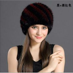 a05fa63e QiuMei Women's Winter Hats Lined Natural Real Fur Cap New Fur Knitted Cap  Women Pineapple Hat Genuine Mink Fur Hat Female Winter