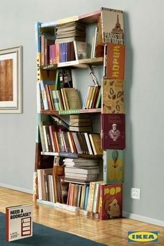 Upcycled books turned into bookcase