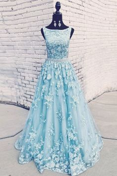 Blue tulle lace long prom dress evening dress, Customized service and Rush order are available Senior Prom Dresses, A Line Prom Dresses, Quinceanera Dresses, Dress Prom, Blue Evening Dresses, Evening Gowns, Blue Dresses, Dresses With Sleeves, Formal Prom