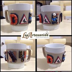 Polymer clay decorated mug by Angelo. Personalized, construction themed - Check link and add Las Artesanias to view more hand crafted products. https://www.facebook.com/LaArtesano