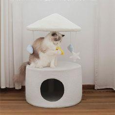 Rotating Carousel Cat Climbing Tree Nest Cat Trees Cheap, Cat Climbing Tree, Cute Baby Bunnies, Sisal Rope, Cat Scratcher, Cat Room, Cat Accessories, Cat Furniture, Hanging Ornaments