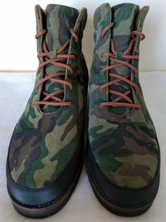 Polo Ralph Lauren Bearsted Mens Camo Suede Leather Ankle Work Boots Size 15  Pony