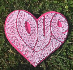 LOVE String Art Hand painted, nailed and strung. Measures 9 inches x 9 inches