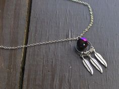 THE NACHTKRAPP. Feather And peacock AB faceted crystal necklace. boho necklace. feather necklace.