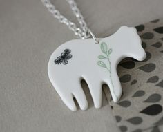 Porcelain and sterling silver necklace