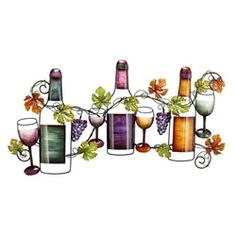 Decorate your kitchen, dining room, or bar area with this wine bottle metal wall decor. This sculpture features 3 wine bottles, wine glasses and grape vines finished in a colorful finish. Wine Wall Decor, Wine Wall Art, Metal Wall Art Decor, Metal Art, Wine Art, Vine Wall, Wall Décor, Tuscan Decorating, Decorating Ideas