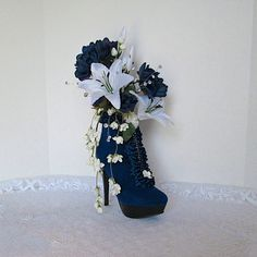 Blue Velvet High Heel Shoe Vase with Blue by AlwaysInBloomFloral