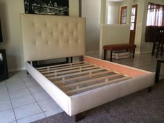 queen or full size button tufted headboard and bed frame headboard is 52 h x x 3 d tan shown in picture tufted with 14 buttons solid wood