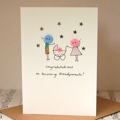 Baby Cards personalised 'button pram' handmade card by hannah shelbourne designs Cute Cards, Diy Cards, Karten Diy, Button Cards, New Baby Cards, New Baby Card Message, Handmade Birthday Cards, Handmade Baby Cards, Handmade Ideas