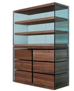 Designer Enrico Marone Cinzano  Materiale Steel Glass Wood  Dimensioni L160xH220x63cm        (How has he done the bottom three shelves?)