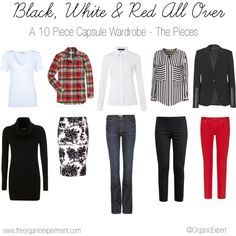 """#CapsuleWardrobe """"Black White & Red All Over - 10 Piece Capsule Wardrobe - The Pieces"""" by anitagriffin on Polyvore"""