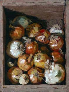 Leslie Duke - Groundwork, oil, 24 x Thought - Life without onions hardly worth living. Painting Still Life, Still Life Art, Paintings I Love, Beautiful Paintings, Vegetable Painting, Food Painting, Southwest Art, Magazine Art, Art Oil