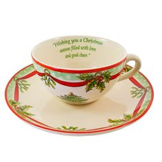 """As the beverage disappears, a warm holiday greeting appear's. """"Wishing you a christmas season filled with love and good cheer"""". What makes Spode the world's best selling Christmas china pattern? Introducted in 1937, Spode has been adding new pieces to the world's best selling Christmas china pattern """"Christmas Tree"""" collection. Every year there's something new and wonderful to collect.$18.99"""