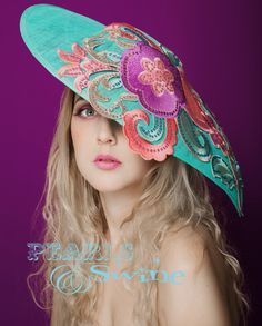 """""""Demure"""" - ONE OF A KIND Royal Ascot Blue Pink Hat On Sale for this weekend only…"""
