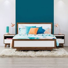 Trendy  Retro Minimal FT: Andi Queen Bed Andi Bedside Table