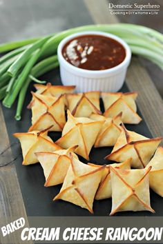 Baked Cream Cheese Rangoon You've gotta try these! Easy peasy and soooo delicious!  Perfect for any party or seasonal get together. http://domesticsuperhero.com/2014/03/31/baked-cream-cheese-rangoon/ #spring recipes #fingerfoods #tailgaterecipes
