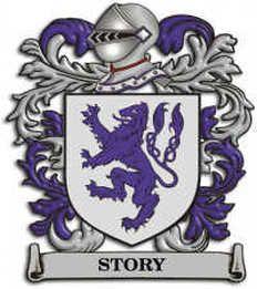 (Storey) Story family crest.  Elsdon parish Northumberland, UK