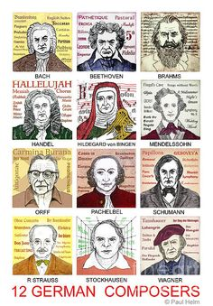 Classical Music Drawing - German Composers by Paul Helm Baroque Composers, Classical Music Composers, Music Memes, Music Humor, Compositor Musical, Classical Period, Music Drawings, Famous Musicians, Sound Of Music