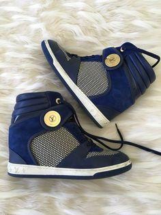 1cf156a5421 Louis Vuitton blue  amp  white monogram high-top wedge sneakers size 40   LouisVuitton