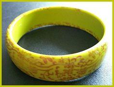 Vintage Bakelite Bracelet Chartruese Green & Gold Floral Design Bangle Style Jewelry