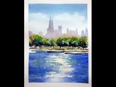 Watercolor demo of Chicago skyline - Tony Armendariz Watercolor Video, Watercolour Tutorials, Watercolor Landscape, Watercolor Paintings, Watercolors, Chicago Art, Chicago Skyline, Gouache Tutorial, Different Art Styles