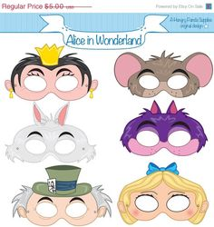 Alice in Wonderland Printable Masks, alice mask, cheshire mask, white rabbit mask, wonderland party, alice costume