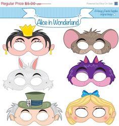 Alice in Wonderland Printable Masks, alice mask, cheshire mask, white rabbit mask, wonderland party, alice costume