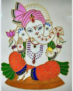 Bappa Ganpati Drawing, Ganesha Drawing, Lord Ganesha Paintings, Ganesha Art, Mural Painting, Mural Art, Fabric Painting, Glass Painting Designs, Paint Designs