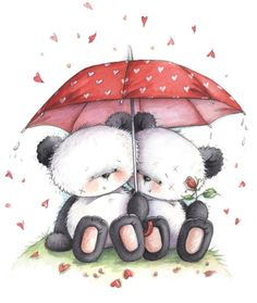 Pandas sharing an umbrella Panda Love, Love Bear, Cute Panda, Cute Images, Cute Pictures, Panda Wallpapers, Blue Nose Friends, Cute Clipart, Tatty Teddy