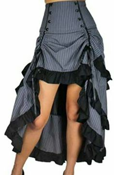 Burlesque Blaze- Gray White Pinstripe Gathered Steampunk Vintage Style Skirt (XS) This item is a vintage style, new product reproduction, not actual vintage  http://momkizz.com/products/?asin=B01HP8FDEC&disc=30&search=steampunk  #steampunk