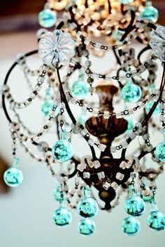 All Things Shabby and Beautiful~ beautiful blue chandelier