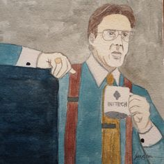 Bill Lombard from Office Space watercolor painting
