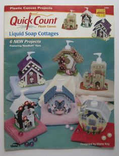 """Liquid Soap Cottages Quick Count Plastic Canvas #53005  Contains instructions and patterns for """"cottage"""" covers for liquid soap dispensers."""