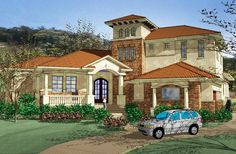 Master Suite with Exercise Room - 16837WG | European, Mediterranean, Spanish, Luxury, 1st Floor Master Suite, CAD Available, Jack & Jill Bath, MBR Sitting Area, Media-Game-Home Theater, PDF, Split Bedrooms, Wrap Around Porch, Corner Lot | Architectural Designs