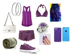 """Purple outfit"" by happynini ❤ liked on Polyvore featuring Athleta, Bambam, Converse, Biba, Diamondere, Swarovski, Chanel and Nyla Star"