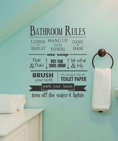 Another great find on #zulily! 'Bathroom Rules' Decal by Wallquotes.com by Belvedere Designs #zulilyfinds