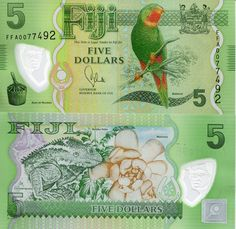 FIJI 5 Dollars Banknote World Money Polymer Currency Note BILL 2013 S. Pacific $