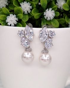 Cluster Earrings with Pearl, Silver and Gold, Cubic Zirconia, Swarovski Pearls, simple bridal jewelry, brides earrings, bridesmaids bridal shower gifts, www.glitzandlove.com