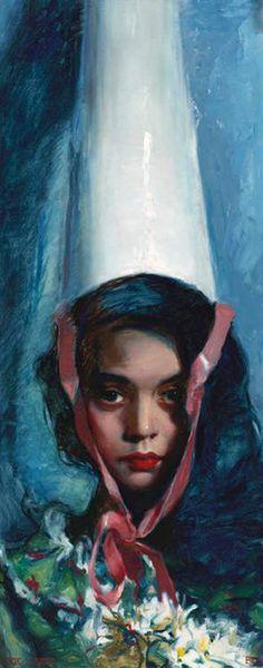 "Teresa Oaxaca, ""Pulcinella,"" 38x16, oil on canvas, Gallery ID# 16623 -- at Principle Gallery"
