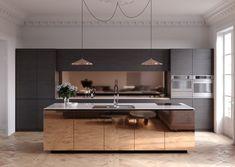 Błyszczące fronty szafek bezuchwytowych na wyspie w kuchni w stylu minimalistycznym